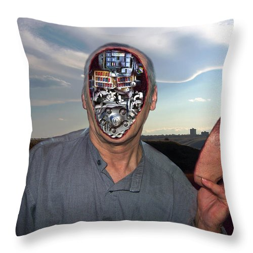 Surrealism Throw Pillow featuring the digital art Mr. Robot-otto by Otto Rapp