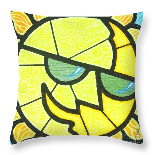 Sunshine Throw Pillow featuring the painting Mr Sunny Day by Jim Harris