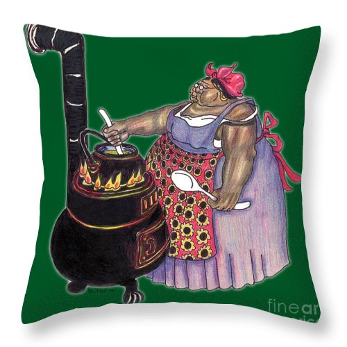 Cooking Throw Pillow featuring the drawing Mrs. Brown Preparing Supper by Walter Oliver Neal