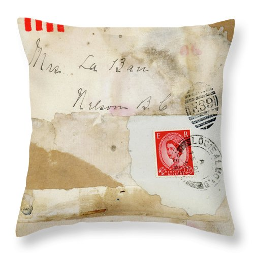 Mrs. Laban Throw Pillow featuring the mixed media Mrs. LaBan Collage by Carol Leigh
