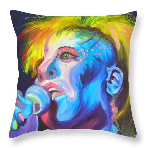 Rock Diva Throw Pillow featuring the painting Mrs Ziggy Stardust by Michael Lee