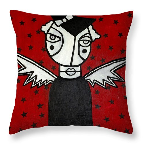 Potrait Throw Pillow featuring the painting Mrs.creepy by Thomas Valentine