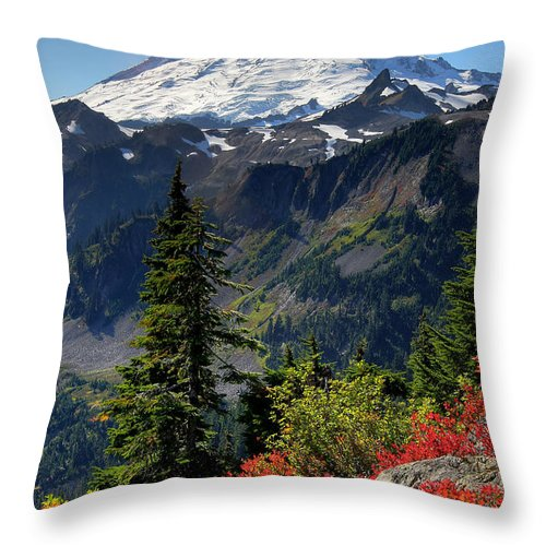 Mountain Throw Pillow featuring the photograph Mt. Baker Autumn by Winston Rockwell