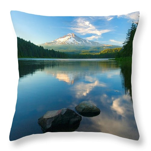 Mt. Hood Throw Pillow featuring the photograph Mt. Hood Cirrus Explosion by Mike Dawson