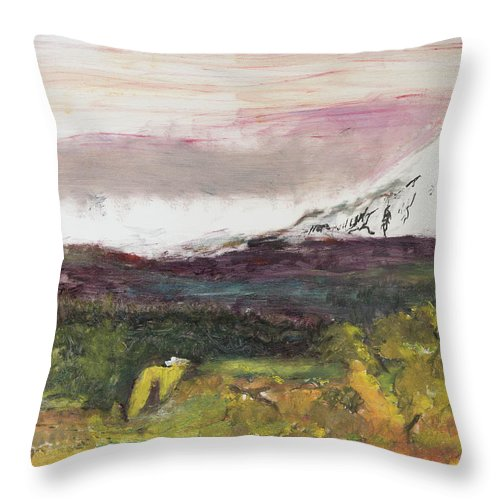 Mt Hood Throw Pillow featuring the painting Mt Hood Mirage by Craig Newland