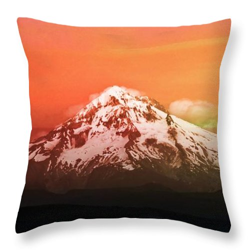 Mt Hood Throw Pillow featuring the photograph Mt Hood Oregon Sunset by Aaron Berg