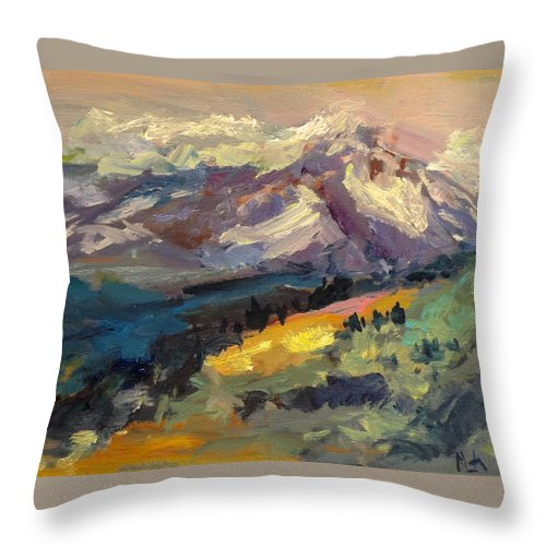 Mountain Throw Pillow featuring the painting Mt Hood View From Chinook Landing by Maria Anderson