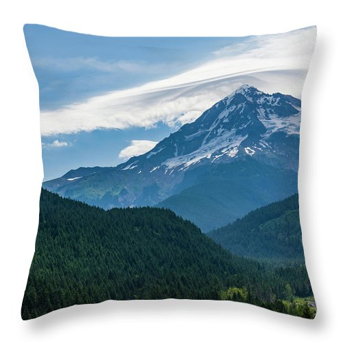 John Trax Throw Pillow featuring the photograph Mt Hood With Lenticular Cloud 2 by John Trax