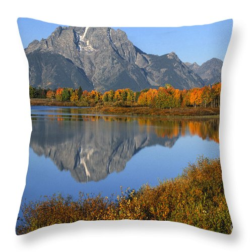 Grand Teton Throw Pillow featuring the photograph Mt. Moran Fall Reflection by Sandra Bronstein