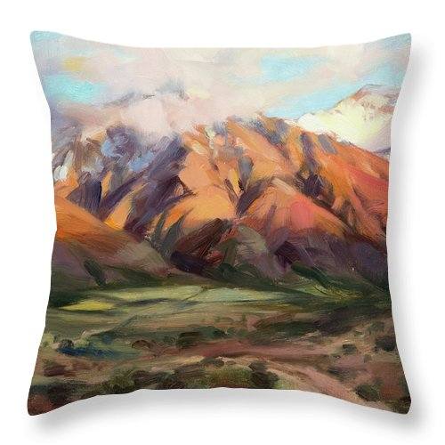 Mountains Clouds Throw Pillow featuring the painting Mt Nebo Range by Steve Henderson