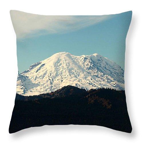 Rainier Throw Pillow featuring the photograph Mt Rainier by Cherie Duran