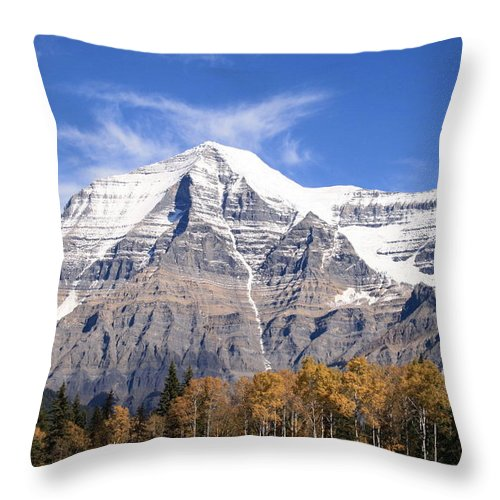 Rocky Mountain Throw Pillow featuring the photograph Mt. Robson- Canada's Tallest Peak by Tiffany Vest