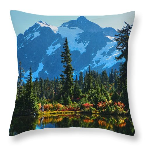 Mt. Shuksan Throw Pillow featuring the photograph Mt. Shuksan by Idaho Scenic Images Linda Lantzy