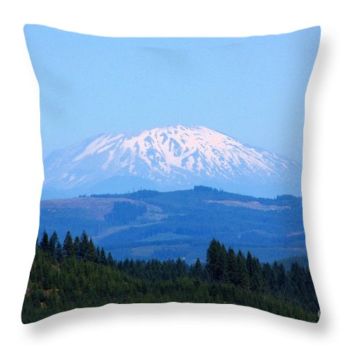 Mountains Throw Pillow featuring the photograph Mt. St. Helens by Nick Gustafson