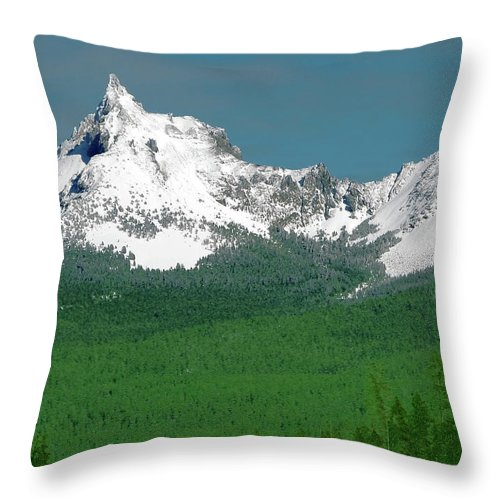 Mountain Throw Pillow featuring the photograph Mt Thielson Coated by Teri Schuster