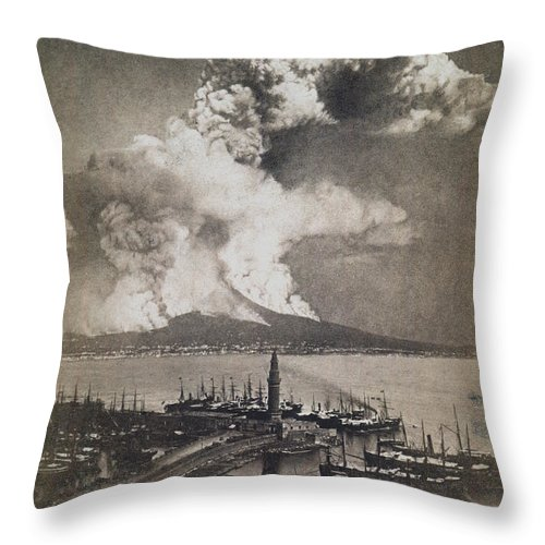 1872 Throw Pillow featuring the photograph Mt. Vesuvius Erupting by Granger