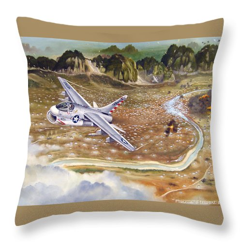 Aviation Throw Pillow featuring the painting Mu Gia Mayhem by Marc Stewart
