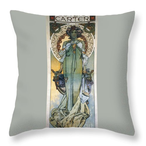 1909 Throw Pillow featuring the photograph Mucha: Theatrical Poster by Granger