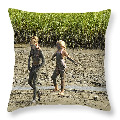 Family Throw Pillow featuring the photograph Mud Bath by Kenneth Albin
