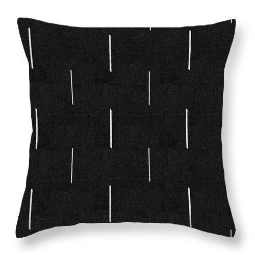Black Throw Pillow featuring the mixed media Mud Cloth 10 - Art By Linda Woods by Linda Woods
