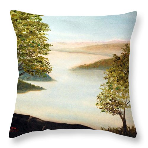 Mudfork Throw Pillow featuring the painting Mudfork by Phil Burton