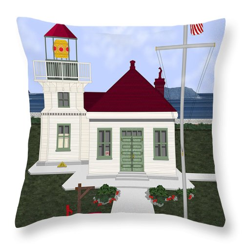 Lighthouse Throw Pillow featuring the painting Mukilteo Light by Anne Norskog