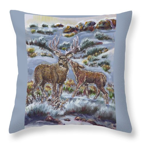 Animals Throw Pillow featuring the painting Mule Deer Lovers From River Mural by Dawn Senior-Trask