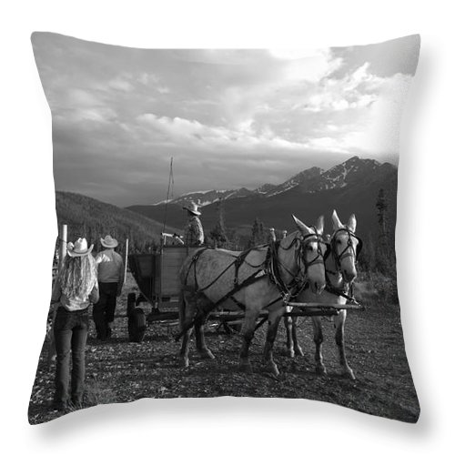 Mountain Throw Pillow featuring the photograph Mule Drawn Wagon by Jennifer E Doll