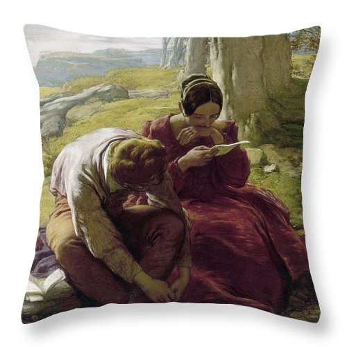 1839 Throw Pillow featuring the photograph Mulready: Sonnet, 1839 by Granger