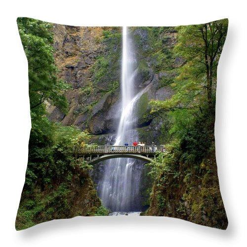 Waterfalls Throw Pillow featuring the photograph Multanomah Falls by Marty Koch