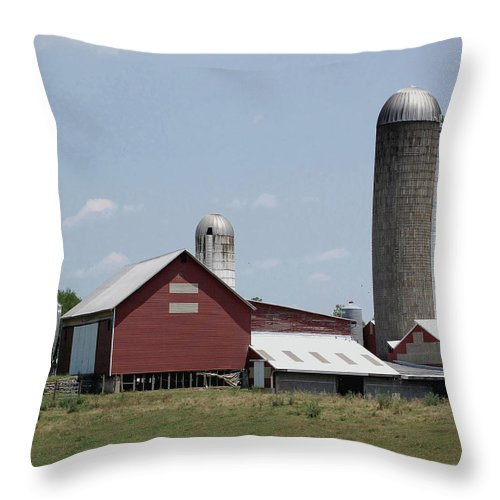 Barn Throw Pillow featuring the digital art Multi Silo Farm by DigiArt Diaries by Vicky B Fuller