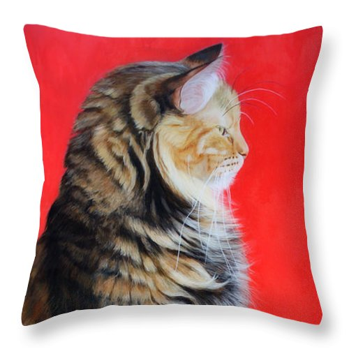 Cat Throw Pillow featuring the painting Multicolored Cat In Red Background by Susana Falconi