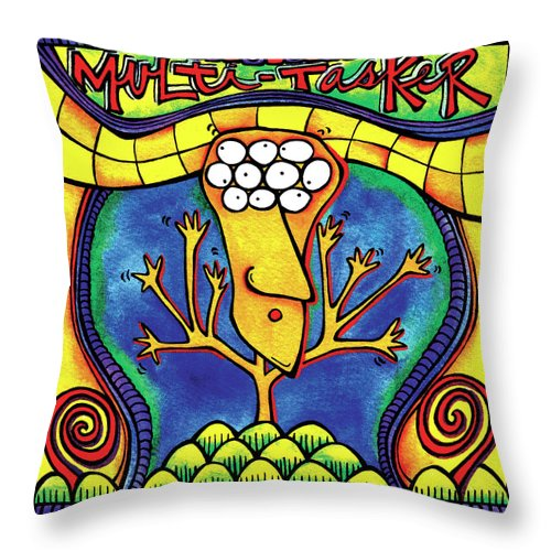 Gallery Throw Pillow featuring the painting Multi-tasker by Dar Freeland