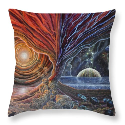 Trans-dimensional Throw Pillow featuring the painting Multiverse 3 by Sam Del Russi