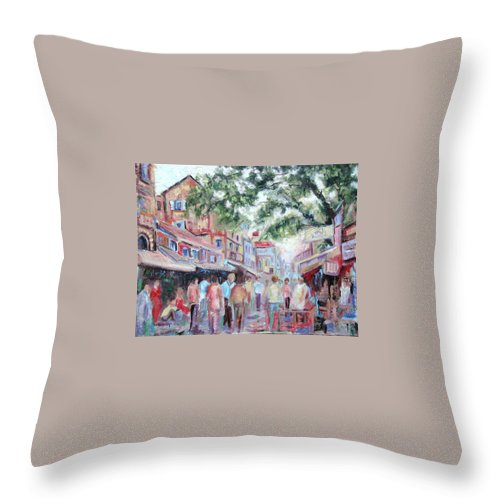 Bombay Markets Throw Pillow featuring the painting Mumbai Market by Ginger Concepcion