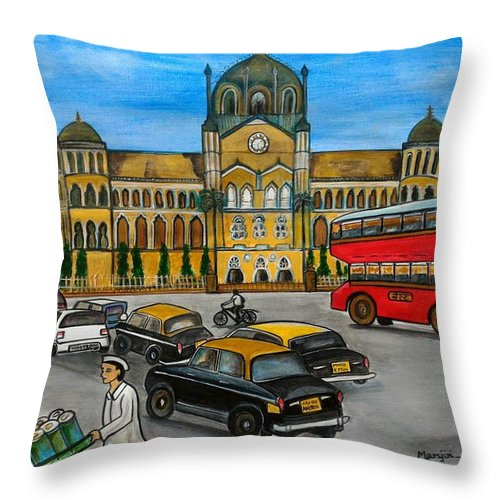 Mumbai Throw Pillow featuring the painting Mumbai Meri Jaan by Manjiri Kanvinde