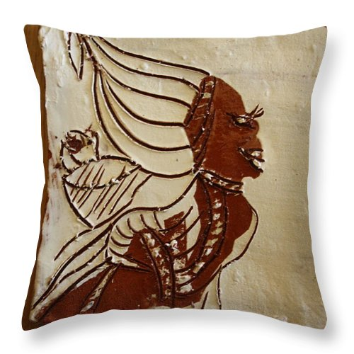 Jesus Throw Pillow featuring the ceramic art Mums Babe - Tile by Gloria Ssali