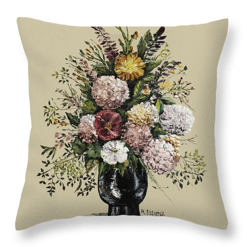 Chrysanthemums Throw Pillow featuring the painting Mums Bouquet by Arline Wagner
