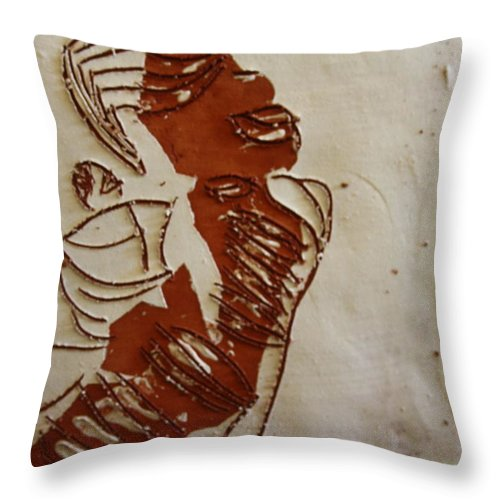 Jesus Throw Pillow featuring the ceramic art Mums Done - Tile by Gloria Ssali