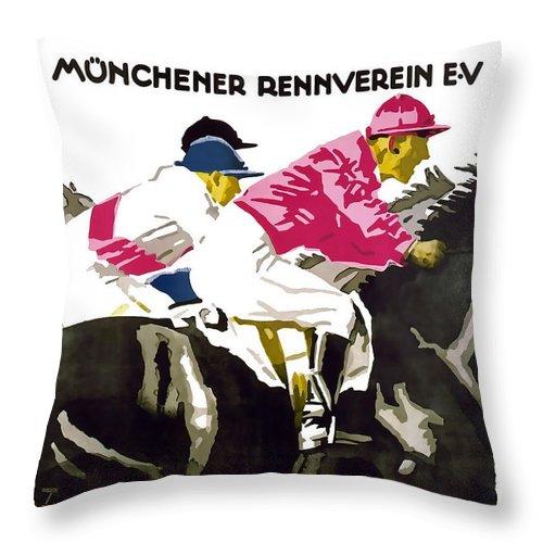 Munchener Rennverein Throw Pillow featuring the mixed media Munchener Rennverein E-V by David Wagner