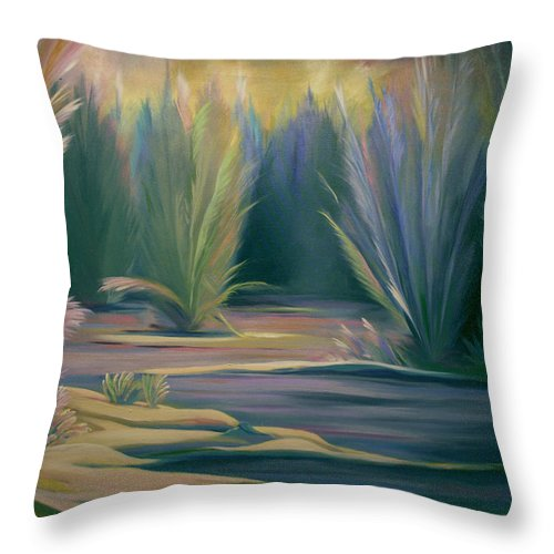 Feathers Throw Pillow featuring the painting Mural Field Of Feathers by Nancy Griswold