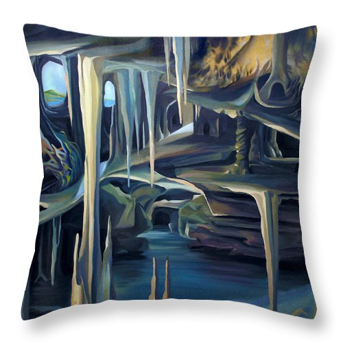 Mural Throw Pillow featuring the painting Mural Ice Monks In November by Nancy Griswold