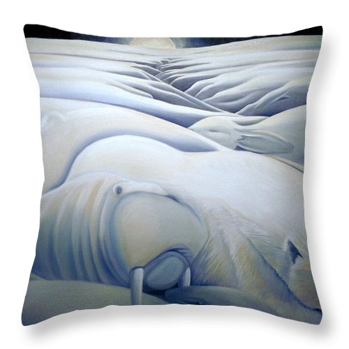 Mural Throw Pillow featuring the painting Mural Winters Embracing Crevice by Nancy Griswold