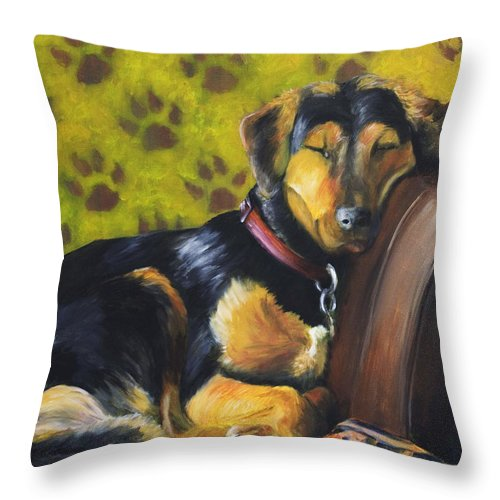 Dog Throw Pillow featuring the painting Murphy Vi Sleeping by Nik Helbig