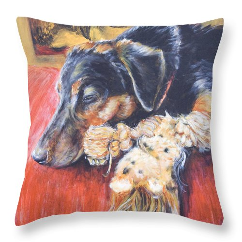 Dog Throw Pillow featuring the painting Murphy VIII by Nik Helbig