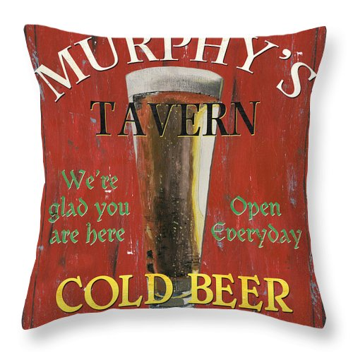 Beer Throw Pillow featuring the painting Murphy's Tavern by Debbie DeWitt