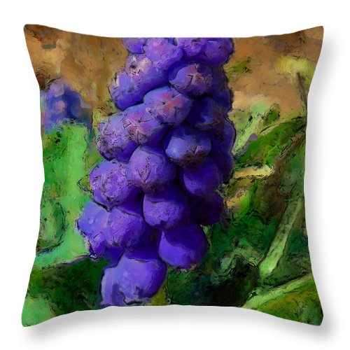 Grape Throw Pillow featuring the photograph Muscari by Dee Flouton