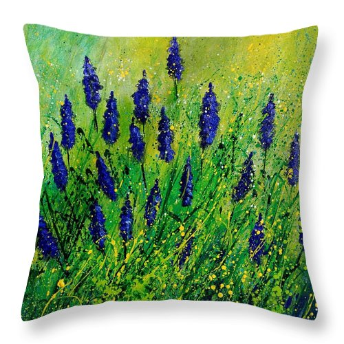 Flowers Throw Pillow featuring the painting Muscaris 4590 by Pol Ledent