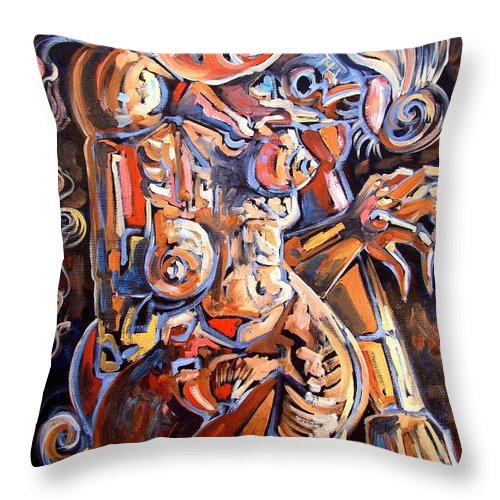 Surrealism Throw Pillow featuring the painting Muse In The Dark by Darwin Leon