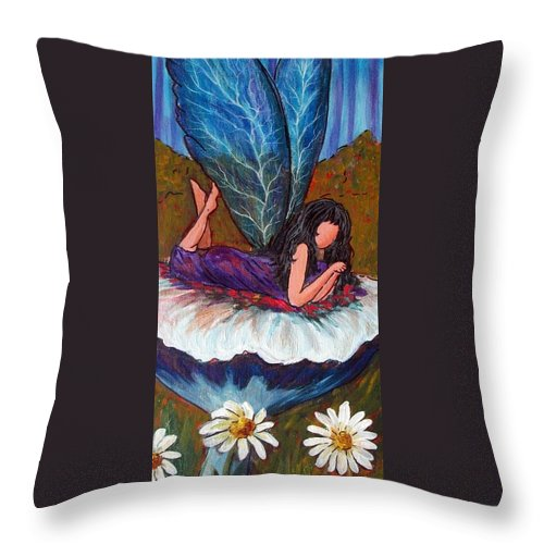 Fairy Throw Pillow featuring the painting Mushroom Fairy #5 by Tami Booher